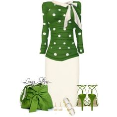 Fashion Style Combination - Green, white, and Polka Dot Green White Blouse with accessories