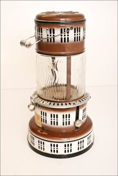 Vtg PERFECTION KEROSENE HEATER Model 750 pyrex glass globe old space Brown/White metal country hearth fireplace floor by SaveAmericanHistory on Etsy