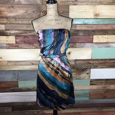 Gorgeous Jewel Tone Stripe Cocktail Dress - Sz 4 Stunning shades of copper, lavendar, blue & teal jewel tones.    #dress #jeweltones #woodsnap The Limited Dresses Strapless
