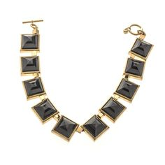 Gold And Black Pyramid Statement Necklace