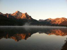 Stanley Lake,Idaho (fog sunrise+sunset Summer mountains sky trees water ). Photo by Idahoshutterbug