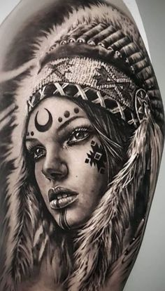 Indian Women Tattoo, Native Indian Tattoos, Indian Girl Tattoos, Indian Tattoo Design, Native American Drawing, Native American Tattoos, Native Girls, Native American Girls, Native American Warrior