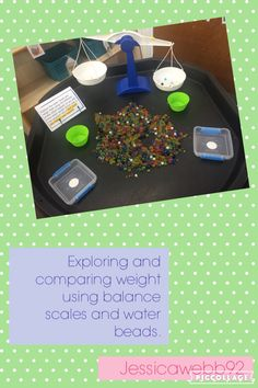 Explore weight using balance scales and water beads. EYFS - - Explore weight us Year 1 Maths, Early Years Maths, Early Math, Maths Eyfs, Numeracy, Guided Maths, Number Activities, Science Activities, Investigation Area