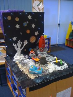 Small world space area, used along side our rocket role play Nursery Activities, Space Activities, Activities For Kids, Space Projects, Space Crafts, Little Girls Bedding Sets, Role Play Areas, Small World Play, Space Theme