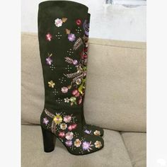 2017 Unique Design Embroider Florals Luxury Women Boots Nubuck Leather Knee High Boots Celebrity Suede Winter High Heels Shoes