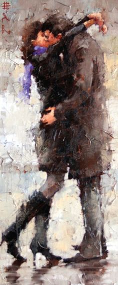 The Kiss by Andre Kohn (Russian-born Figurative Impressionist, Oil on canvas Urbane Kunst, Kissing In The Rain, Couple Kissing, Beautiful Paintings, Romantic Paintings, Oeuvre D'art, Love Art, Painting & Drawing, Kiss Painting