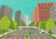 Town Landscape  #illustration #illustrator #イラスト #イラストレーション #イラストレーター