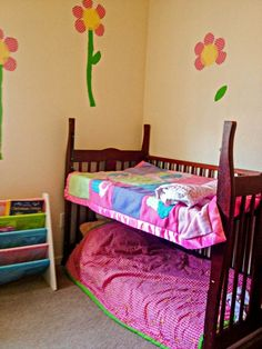 EASY Crib-To-Toddler Bed Transformation.  Says she who doesn't own a crib.  LOL @K D Eustaquio Magarity...might be a space fix for when the kids come visit...you could put a full futon mattress underneath and pull it out when the kids visit.