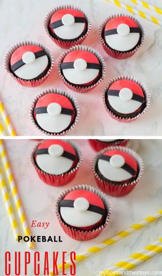 If you're planning a Pokemon-inspired watch party or birthday celebration, these Pokeball Cupcakes are a must for the dessert table! We're giving you step-by-step directions with photos to make this Pokeball dessert a success! Pokemon Birthday, Pokemon Party, Cupcake Recipes, Cupcake Cakes, Dessert Recipes, Pokeball Cupcakes, Easy Pokemon, Birthday Celebration, Birthday Parties