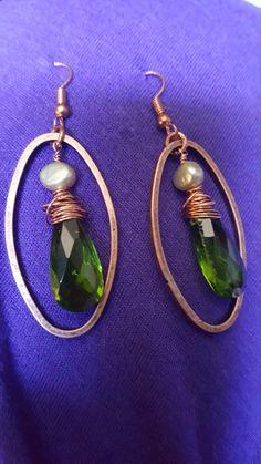Green and copper Copper, Jewelry Making, Drop Earrings, Jewellery, Green, Fashion, Jewelery, Moda, Jewellery Making