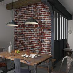 Parez vos murs de la brique emblématique de Brooklyn !  Ce trompe-l'oeil BRICKWALL crée une atmosphère industrielle, réchauffée par la couleur rouge de la pierre.
