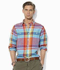 Polo Ralph Lauren CustomFit BandanaPlaid Shirt #Dillards