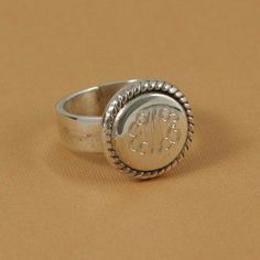 Round Braided Trim Personalized Silver Ring