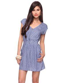 spotted zipper dress