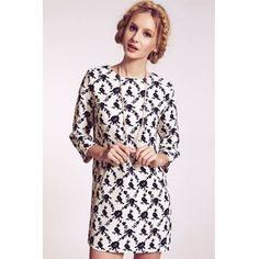 USD11.49Fashion O Neck Three Quarter Straight Cotton Mini Dress