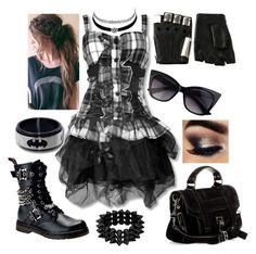"""Gothic(:"" by hayliemcullough ❤ liked on Polyvore featuring Demonia, Proenza Schouler, Charlotte Russe and Majesty Black"