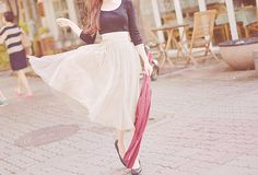 black blouse + white maxi skirt + flats + scarf