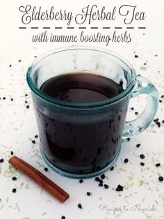 Elderberry Herbal Tea with Immune Boosting Herbs ... herbal tea infusions are nourishing for the body. This version tastes delicious + supports the immune system. | Recipes to Nourish: