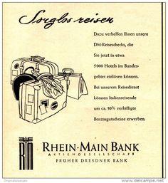 Original-Werbung/ Anzeige 1956 - RHEIN-MAIN- BANK - ca. 110 x 120 mm