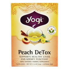 Yogi Tea - DeTox Tea Caffeine Free Peach - 16 Tea Bags Yogi Tea DeTox Tea with Organic Dandelion Caffeine Free Peach supports healthy liver and kidney function Liver Detox Drink, Kidney Detox Cleanse, Detox Your Liver, Smoothie Detox, Detox Tea, Liver Cleanse, Smoothies, Healthy Liver, Healthy Detox
