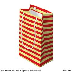 Soft Yellow and Red Stripes Small Gift Bag