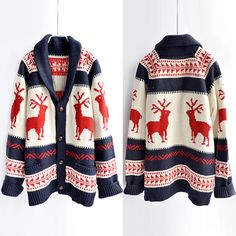 Fashion Elk Pattern Long Sleeve Knitting Coat