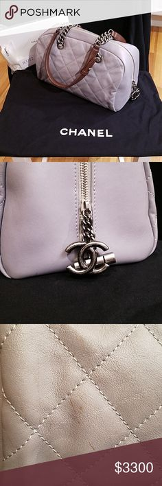 39853ef94a87 AUTHENTIC CHANEL GRAY QUILTED BOWLER BAG Classic Beauty Bag comes with all  original paperwork