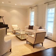 Ella Scott Design | Bethesda, MD | In Process  Day 1 of install.  The client asked for a neutral palette....mission accomplished.  #livingroom #moderndesign #babygrandpiano #neutraldesign