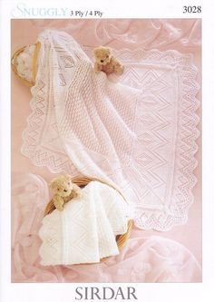 Sirdar Snuggly 4PLY & 3PLY Baby Shawl Blanket Knitting Pattern 3028