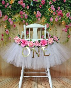 High Chair Tutu - Highchair Tutu Skirt - Pink and White Highchair tutu - Highchair skirt - High Chair Skirt-1st Birthday- High Chair Banner by AvaryMaeInspirations on Etsy