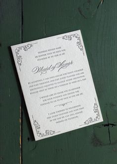Bridesmaids stationery/Maid of Honour requests: Maid of Honor/  Letterpress by shopsaplingpress, $4.50