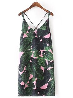 Shop Tropical Print Criss Cross Back Cami Dress online. SheIn offers Tropical Print Criss Cross Back Cami Dress & more to fit your fashionable needs.