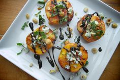 Grilled Peaches with Blue Cheese & Hazelnuts- peaches, olive oil, blue cheese, hazelnuts, basil, balsamic.