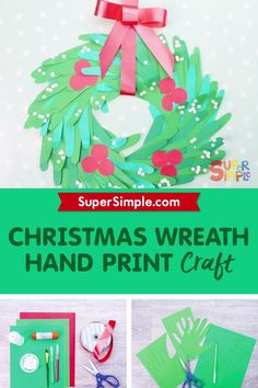 Make a beautiful handprint wreath craft using your handprint or handprints from the whole family.