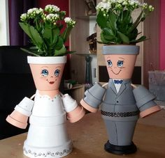 I've decided to keep my adorable hand painted flower pot pe Flower Pot Art, Clay Flower Pots, Flower Pot Crafts, Clay Pots, Clay Pot Projects, Clay Pot Crafts, Diy Clay, Diy And Crafts, Flower Pot People