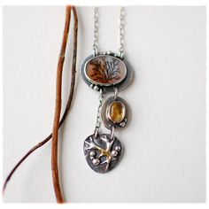 6shadows jewelry |  In the Woods necklace | Materials: sterling 925, dendritic agate, citrine cabochon