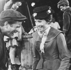 Julie Andrews and Dick Van Dyke on the set of Mary Poppins