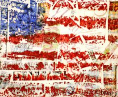 "Spot of Color: Grade Jasper Johns ""Encaustic"" Flags (collage words, white wash over it lightly, crayon red & blue on fine grit sandpaper, iron! Jasper Johns, American Flag Art, American Symbols, Pop Art, 4th Grade Art, Fourth Grade, Art Auction, School Auction, Auction Ideas"