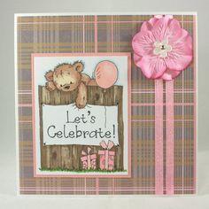Handmade cute bear greetings card - Let's Celebrate! £1.90