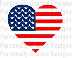 38e6b93e7c SVG, DXF, EPS Cut file American Flag Heart svg, Patriotic svg, silhouette  cut file, cameo file, United States Design, 4th of July, Military