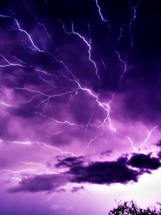 Violet electrical storm.  Lightning doesn't always strike down; sometimes it goes across the sky.