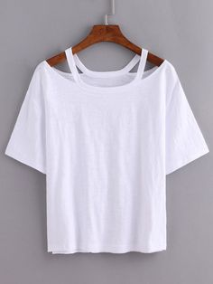 Shop Cutout Loose-Fit White T-shirt online. SheIn offers Cutout Loose-Fit White T-shirt & more to fit your fashionable needs.