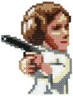 Star Wars Leia /  Perler Beads - Hama perlen - Bügelperlen
