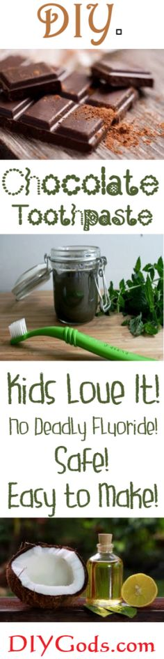 See what the Toothpaste Manufactures don't want you to know about with regards to Fluoride.Yes! Chocolate Toothpaste - Yum! DIY Chocolate Toothpaste you and your KIDS will love. Safe and super easy to make with 4 ingredients.