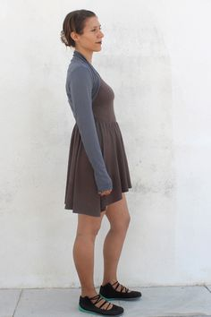 Grey and Black Reversible Ballet/Yoga Shrug with Chocolate Brown Jacquie Dress. 92%  Viscose from bamboo, 8% Spandex. Made in USA. jqlovesu.com.
