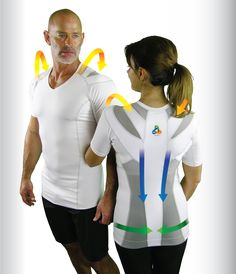 "Align Postureshirts™.  ""Controlled resistance used to activate the muscles in the body; NeuroBands stimulate specific muscle groups to keep the spine lengthened and upright."" From Alignmed. #shirt"