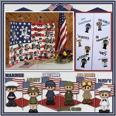 Boomers Girl Designs {American Heroes} by BoomersGirl Designs http://store.gingerscraps.net/American-Heroes-BGD.html We had our 50th Class reunion this past week end and we honored our Vets. I made this display board and put their names on plates with the small person and flage corresponding to the branch that they severed in and the two guys in the navy and starts are the two guys we lost from our class in the Viet Nam war. When the board was closed on the back I put the service people and…