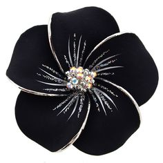 Black Hawaiian Plumeria Swarovski Crystal Flower Brooch and Pendant $16.59 (my notes: I like all the colors)