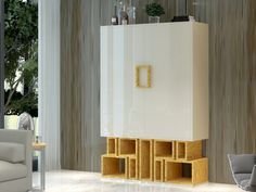 Meuble bar. Mod. VIENA Divider, Room, Furniture, Home Decor, Wooden Shelves, Solid Wood, Vienna, Bedroom, Rooms