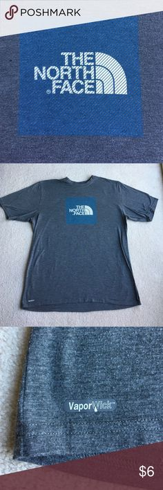 North Face t-shirt BF put it on and immediately took it off. Too small for his neck! He's an XL, so I believe this is a L. His brother just moved and we/he inherited a lot of clothes! This is one of the pieces. Bundle this with a hat or something else. I'm not looking to make $3.00 and although it's worth $12.00 (6+6) on your end, it's so much smarter to buy 2 items. Additional % discount also. Inside tag gone as shown in pic. The North Face Shirts Tees - Short Sleeve
